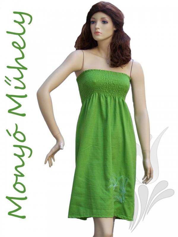 6a8da26df9 Tulipános női lenvászon ruha - zöld